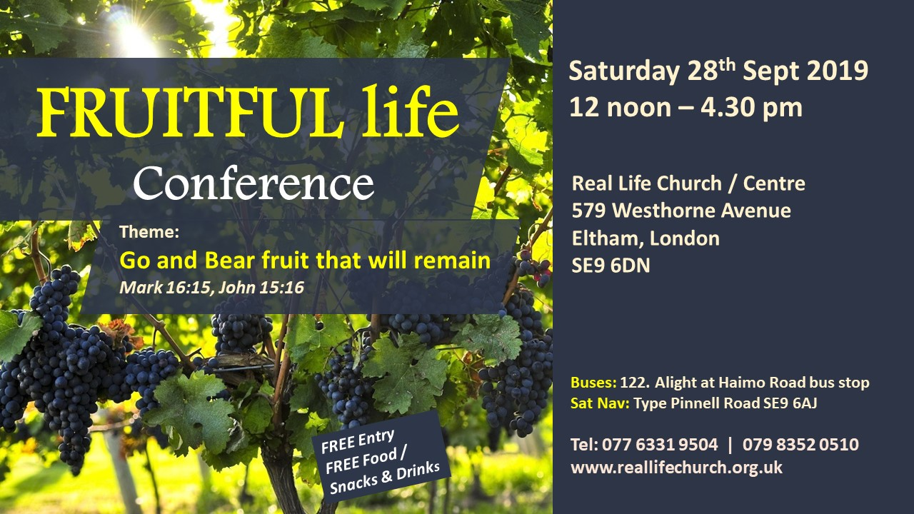 Fruitful Life Conference – Saturday 28th Sept 2019